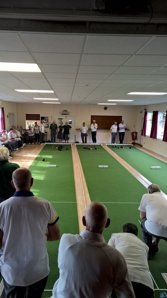 Playing short mat bowls at Broughton Gifford village hall