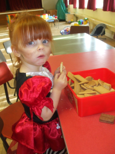 Raiding the biscuits at Broughton Gifford Toddler Group