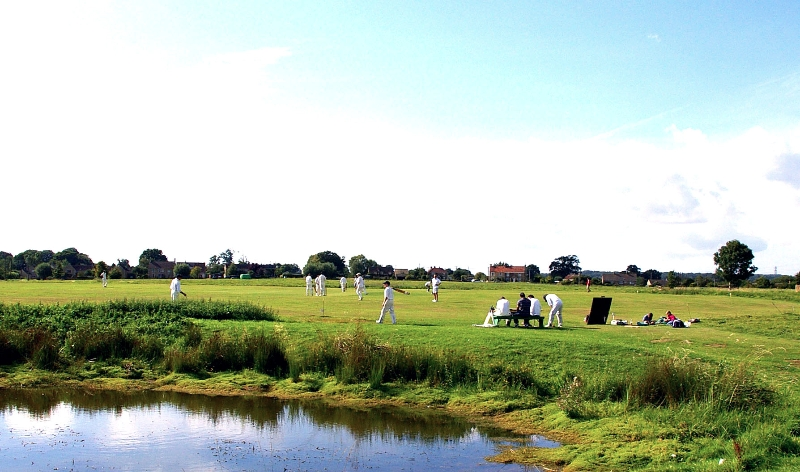 Cricket on the common in Broughton Gifford